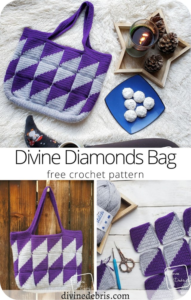 Make a striking bag that will get noticed everywhere you go with the Divine Diamonds Bag, a free crochet pattern by DivineDebris.com