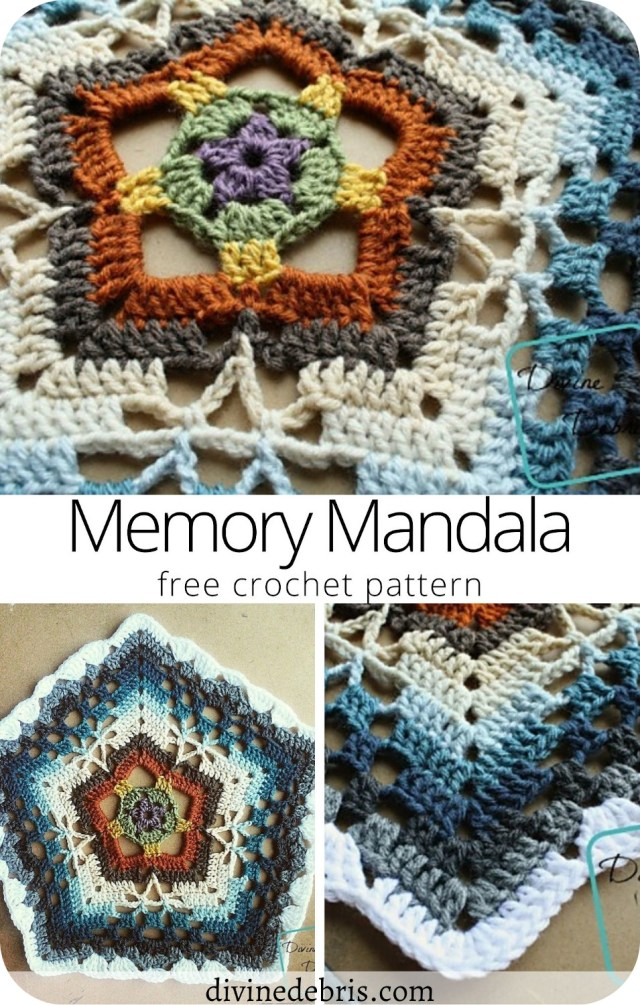 Learn to make the visually interesting and unique crochet mandala, the Memory Mandala, from a free crochet pattern on DivineDebris.com
