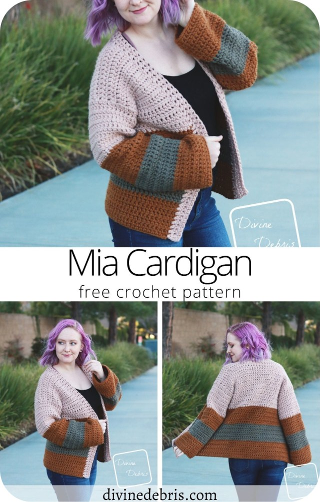 Learn to make the easy, squishy, and striped cardi  using bulky weight yarn, the Mia Cardigan, from a free crochet pattern on DivineDebris.com