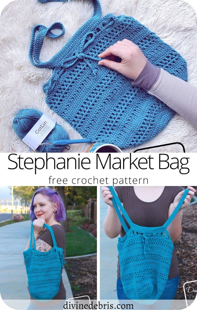 Learn to make the fun, easy, customizable, and useful Stephanie Market Bag from a free crochet pattern by DivineDebris.com