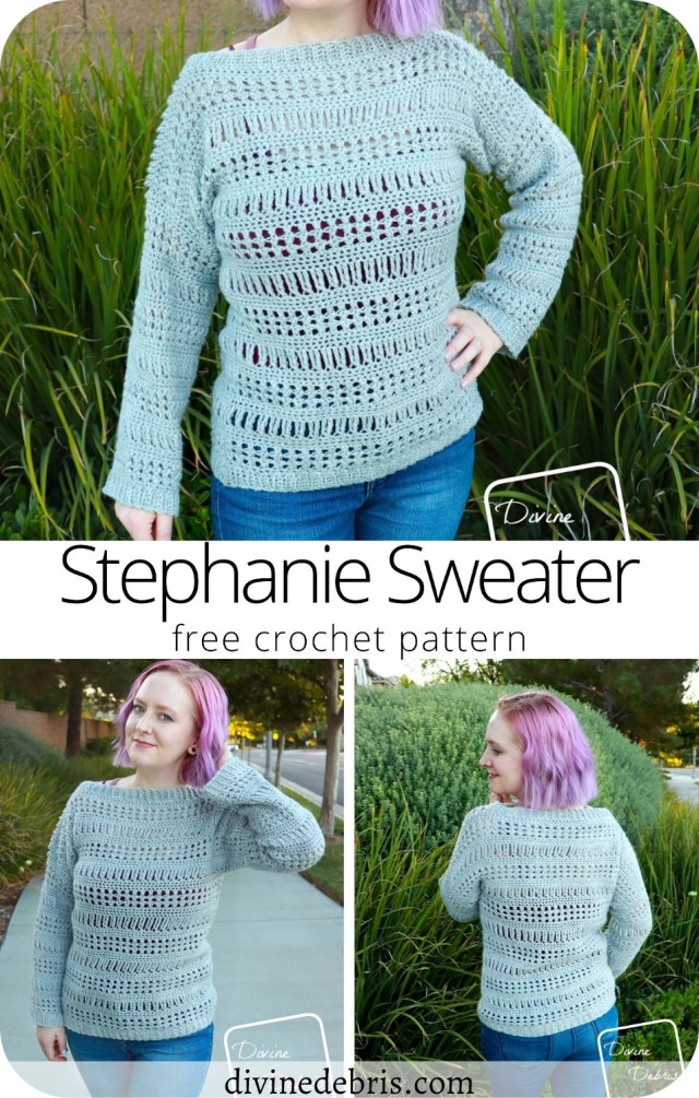 Learn to make a fun and easy early Fall pullover, the Stephanie Sweater, from a free crochet pattern on DivineDebris.com