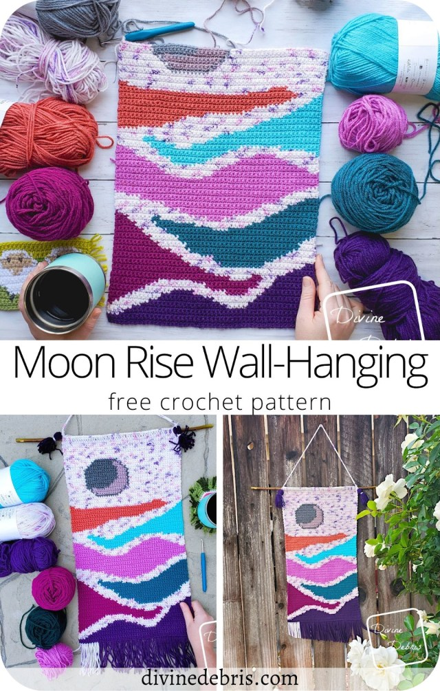 Learn a new pattern and dress up your home decor with the fun and free Moon Rise Wall-Hanging, a free crochet pattern/graph available on DivineDebris.com
