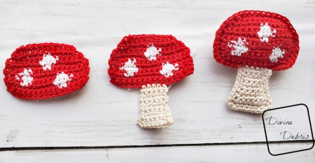[Image description] Red topped mushrooms in 3 stages from left to right, only the cap, the cap and the stem, and the seamed stuffed cap and mushroom