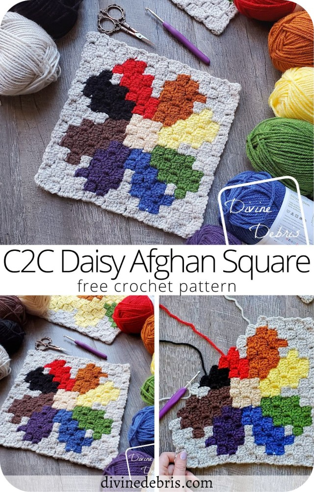 Learn to make the colorful June square, the C2C Daisy Afghan Square, in the year long Plants Corner to Corner CAL by DivineDebris.com