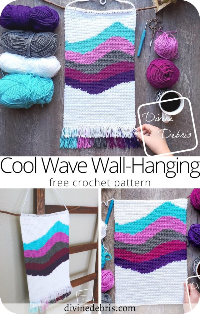 Learn to make the fun and colorful Cool Waves Wall-Hanging from a free and fun crochet pattern by DivineDebris.com