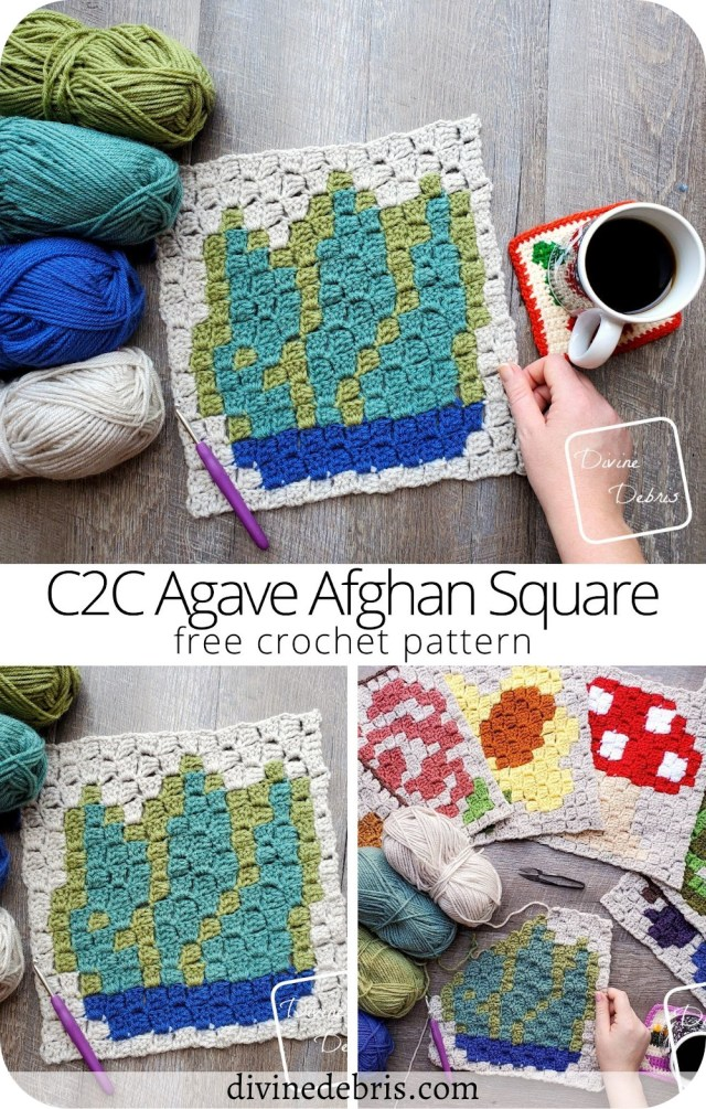 Learn to make the colorful July square, the C2C Agave Afghan Square, in the year long Plants Corner to Corner CAL by DivineDebris.com