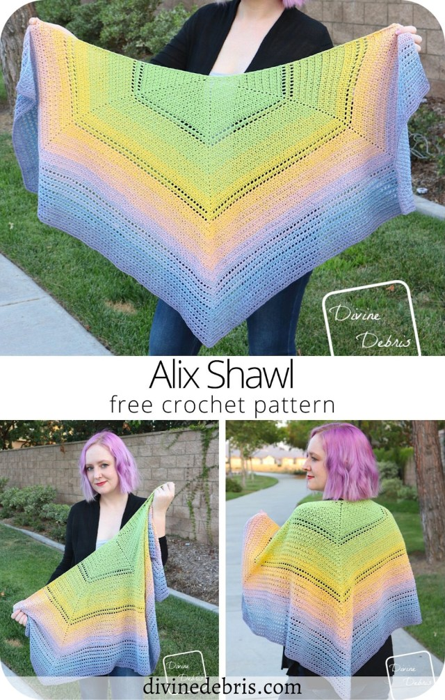 Learn to make the fun, textured, and super drapey Alix Shawl from a free and easy crochet pattern available on DivineDebris.com