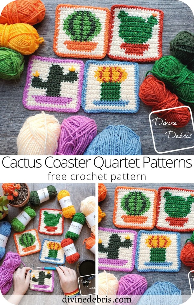 Learn to make the fun and colorful Cactus Coaster Quartet from a set of 4 free crochet graph patterns available on DivineDebris.com