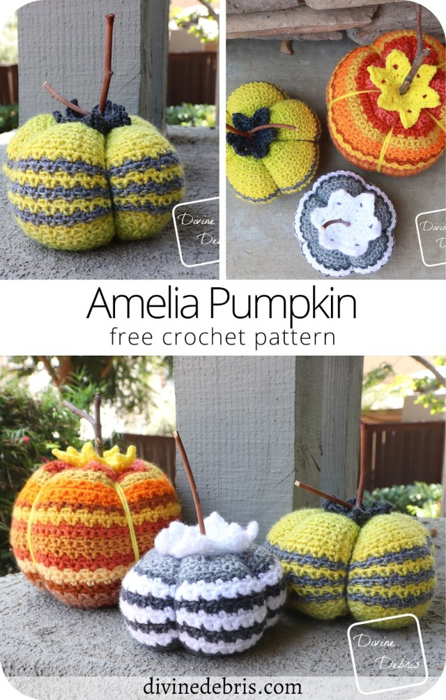 Learn to make the fun, customizable, and stash busting free Amelia Pumpkin crochet pattern for Halloween, available on DivineDebris.com