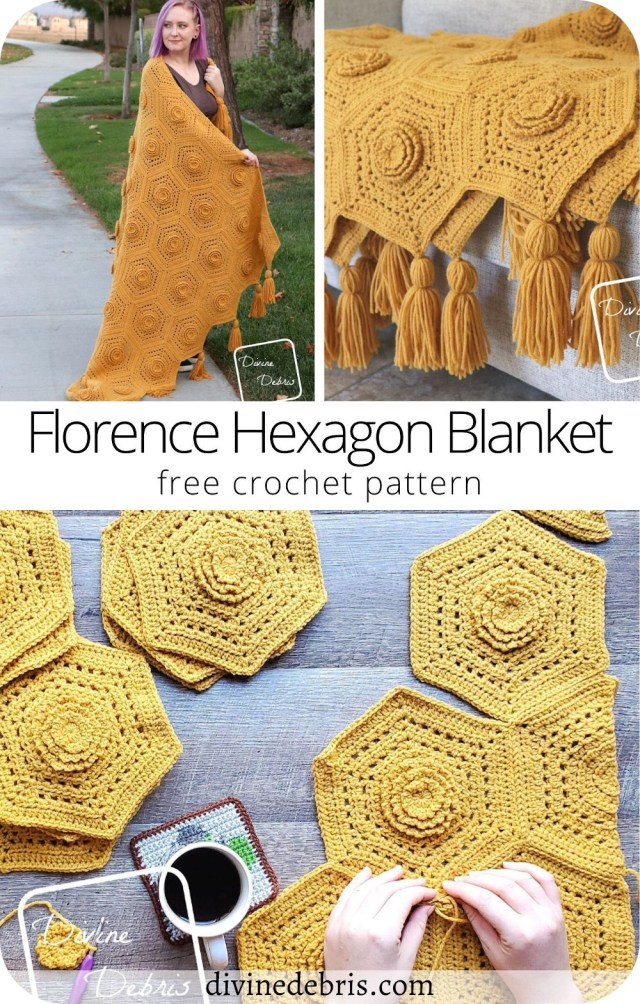 Learn to make the fun, textured, and easy Florence Hexagon Blanket from a free crochet pattern available on DivineDebris.com