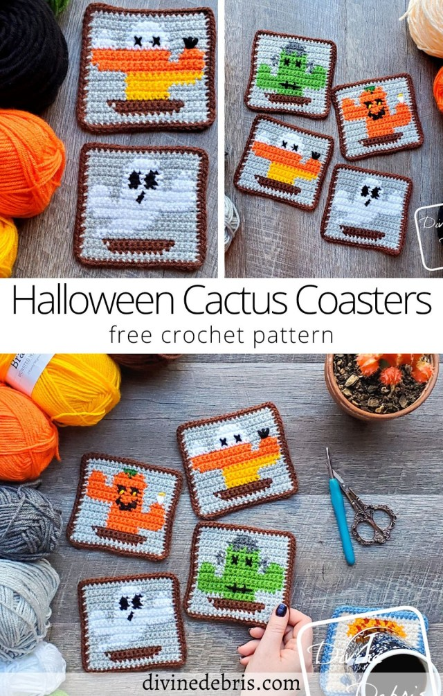 Learn to make the fun, creative, and festive Halloween Cactus Coasters crochet pattern free in graph form from DivineDebris.com