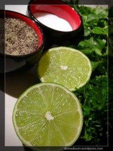 Cilantro, lime, parsley, salt and pepper.