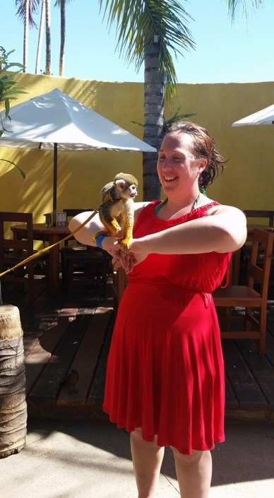 Spirit Retreat Puerto Vallarta 2016 Kim Hollister holds a squirrel monkey at dolphin adventures