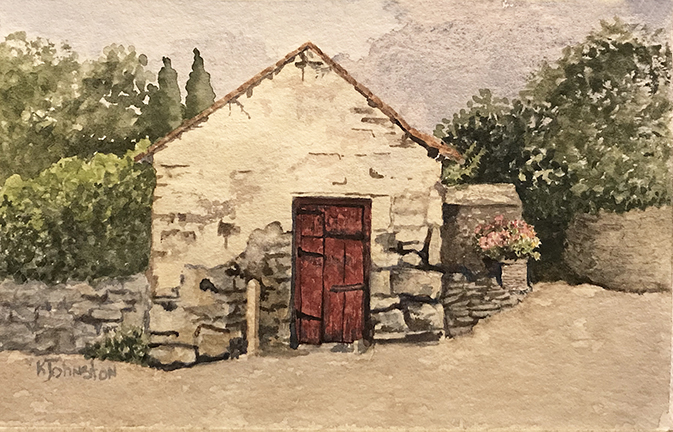 watercolor of stone shed with red door in Ireland
