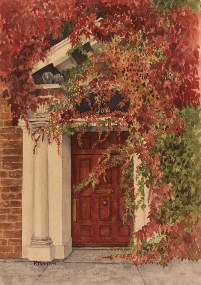 watercolor of red door with red and green ivy by Kristi Johnston