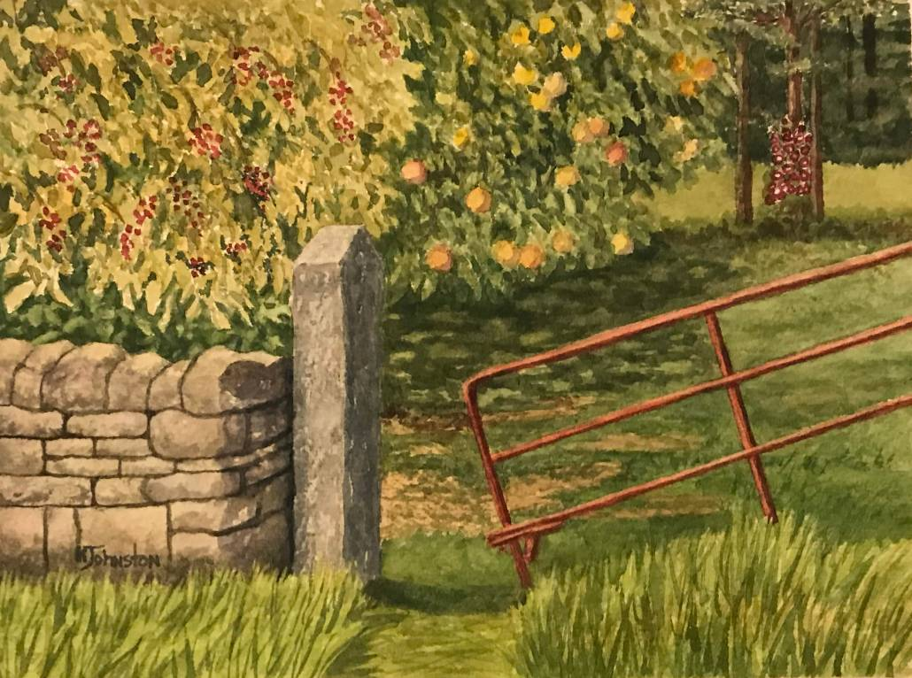 watercolor of Irish gate and stone entry