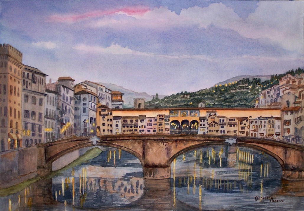 watercolor of ponte vecchio at dusk in Florence Italy