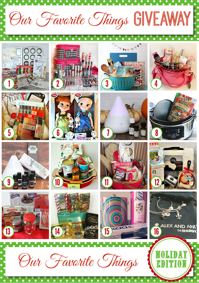 Win one of 16 prizes in the Our Favorite Things Holiday GIVEAWAY!