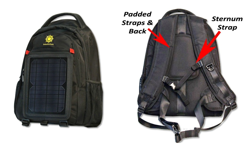 Solargopack Solar Powered Backpack,charge Mobile Devices,10k Mah Battery, Black - Stay Charged My Friends