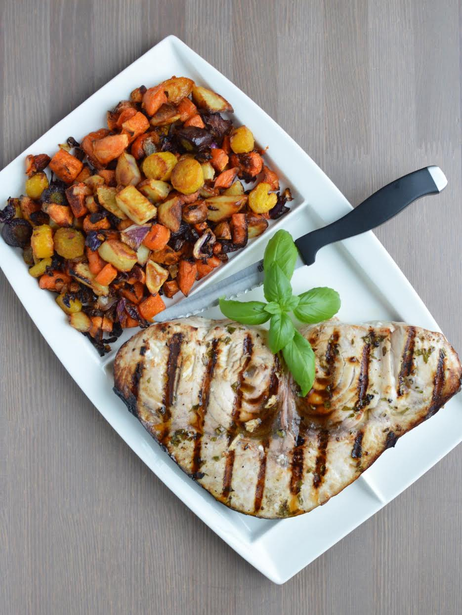 Grilled Swordfish Recipe with Roasted Rainbow Vegetables