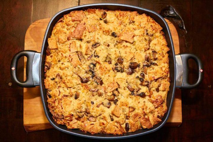 Mushroom Bread Pudding Recipe #Makemealsbetter Swiss Diamond Pan Better Than Buillon