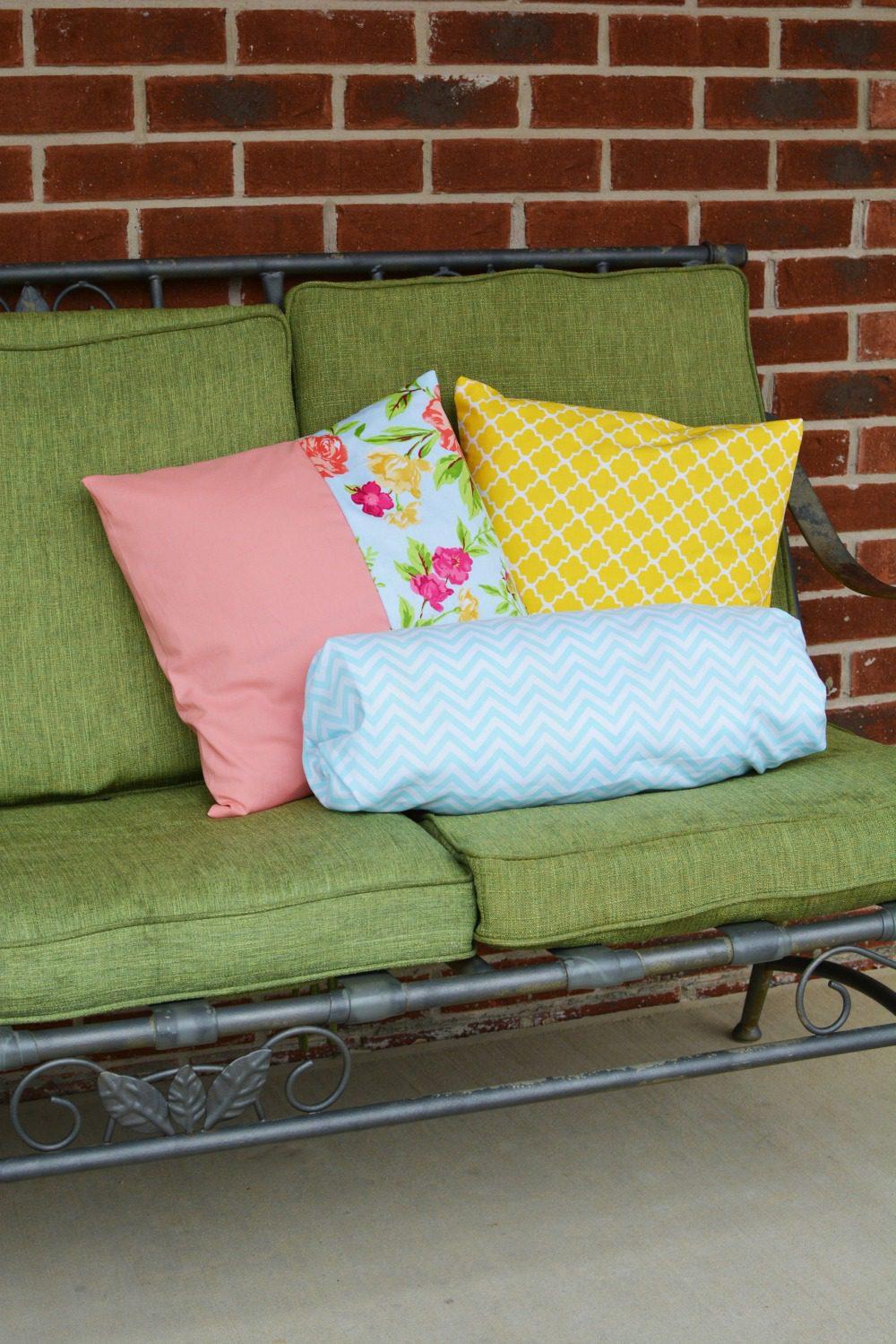 DIY Spring Throw and Bolster Pillows #WaverlyInspirations #InaWaverlyWorld