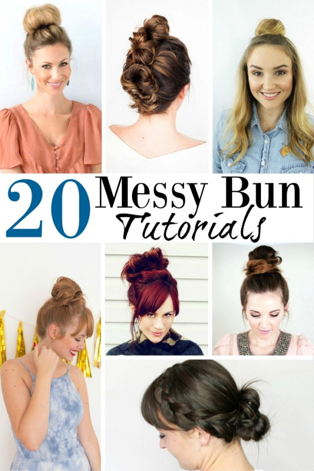 20 easy messy bun tutorials quick updo hairstyles