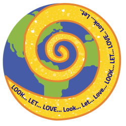 Spiral over the world saying Look...Let...Love for DivineLightVibrations.com. Glenn Younger spiritual author and transformation divine soul coach.