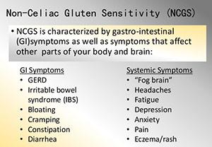 Chart of gluten sensitivity symptoms