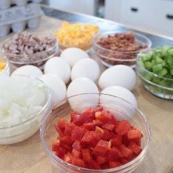 prepped gluten free quiche ingredients