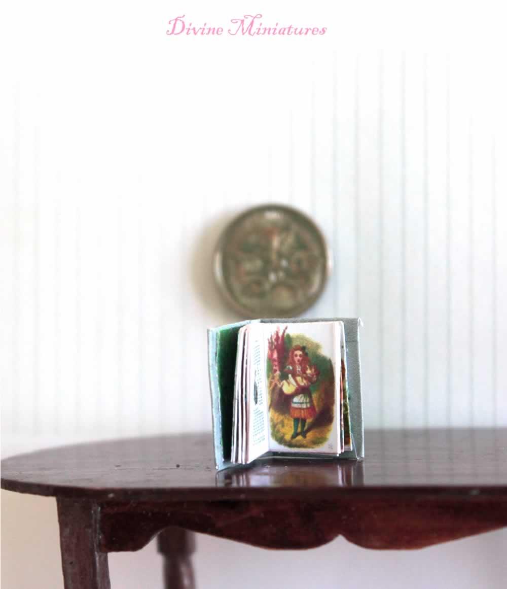 DOLLHOUSE Illustrated Vintage Maroon Car Coffee Table Book Doll House Miniatures