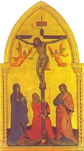 Crucifixion, Jean, Marie et Marie-Madeleine au pied de la Croix - Nardo di Cione