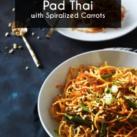 "Vegan peanut sauce ""Pad Thai"" with spiralized carrots"