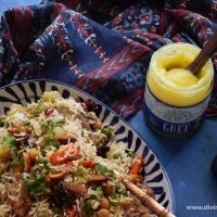 Chickpea vegetable pilaf + Ahara Rasa Ghee review