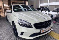Merc a180 white. divinesplash.com divine splash car spray divine splash. car spray in singapore. car spray painting white merc a180
