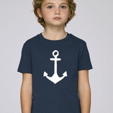 Tee-shirt bleu foncé et mixte pour enfants avec le motif Ancre - Diving Reflex
