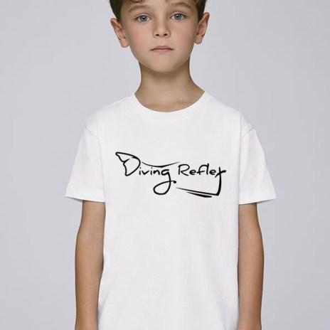 Tee-shirt blanc et mixte pour enfants avec le logo Diving Reflex