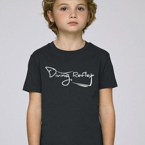 Tee-shirt noir et mixte (unisex) pour enfants avec le logo Diving Reflex