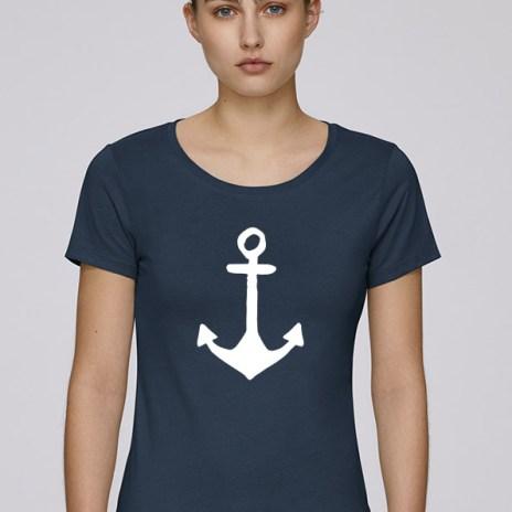 Tee-shirt bleu foncé pour femmes avec le motif Ancre - Diving Reflex