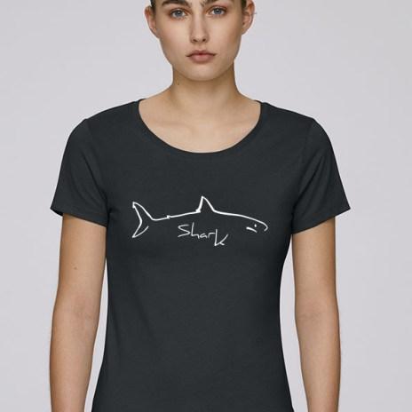 Tee-shirt noir pour femmes avec le motif Shark - Diving Reflex