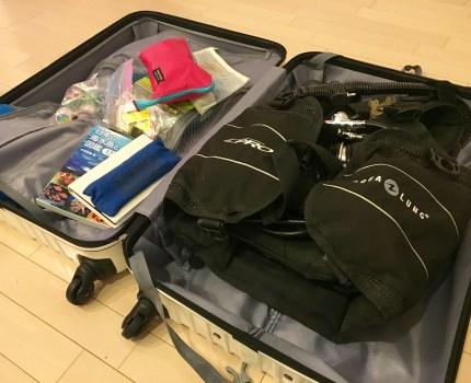 ダイビング重器材、何リットルのキャリーバッグが必要?飛行機OK?