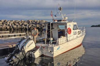 Jeffrey Gallant aboard GEERG's research vessel, the Skalugsuak, in Baie-Comeau, Québec. Photo © GEERG.ca