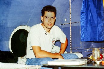 Jeffrey Gallant aboard the L.S.-1 underwater habitat in Lake Bicaz, Romania (1995). Photo © Diving Almanac