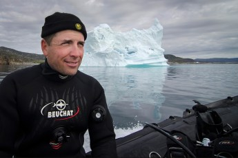 Jeffrey Gallant after a dive in Disko Bay, Greenland, in 2014. Photo © Françoise Gervais