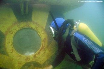 Aquanaut Constantin Mihaï and the L.S.-1 Underwater Laboratory in Lake Bicaz, Romania, in 1995. Photo © Jeffrey Gallant | Diving Almanac
