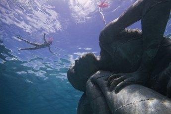 Snorkeler and Ocean Atlas. Photo © Jason deCaires Taylor