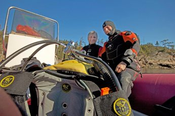 Paul Boissinot and David Doubilet looking for Greenland sharks in the St. Lawrence Estuary. Photo © Jeffrey Gallant   GEERG