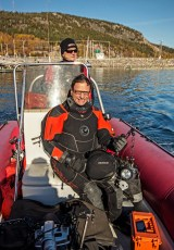David Doubilet looking for Greenland sharks in 2013. Photo © Jeffrey Gallant   GEERG.ca