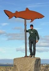 Jeffrey Gallant at the road entrance to the Bjarnarhöfn shark-museum. Photo © Diving Almanac