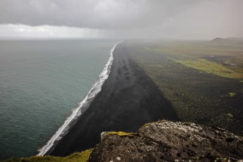 Volcanic sand beach seen from the summit of Dyrhólaey, Iceland's southernmost point. Photo © Jeffrey Gallant | Diving Almanac
